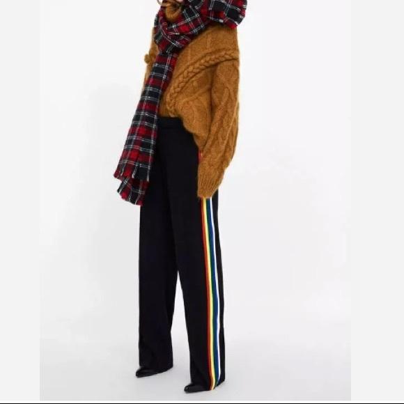 685d8205 Zara Pants | Nwt Side Stripe Flowy Trouser Rainbow | Poshmark